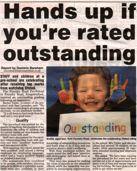 Rated Outstanding by Ofsted 2015